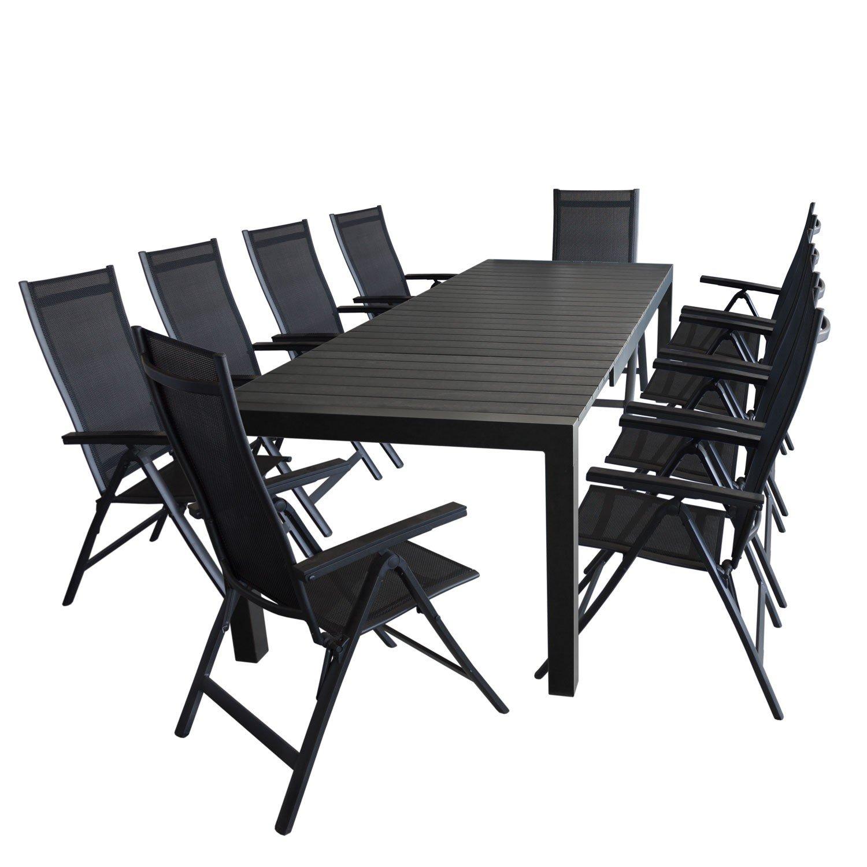 11tlg. Gartengarnitur - Gartentisch ausziehbar 205/275x100cm ...