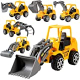 6 Pcs Play Vehicles Construction Vehicle Truck Cars Toys Set- Friction Powered Push Engineering Vehicles Assorted…