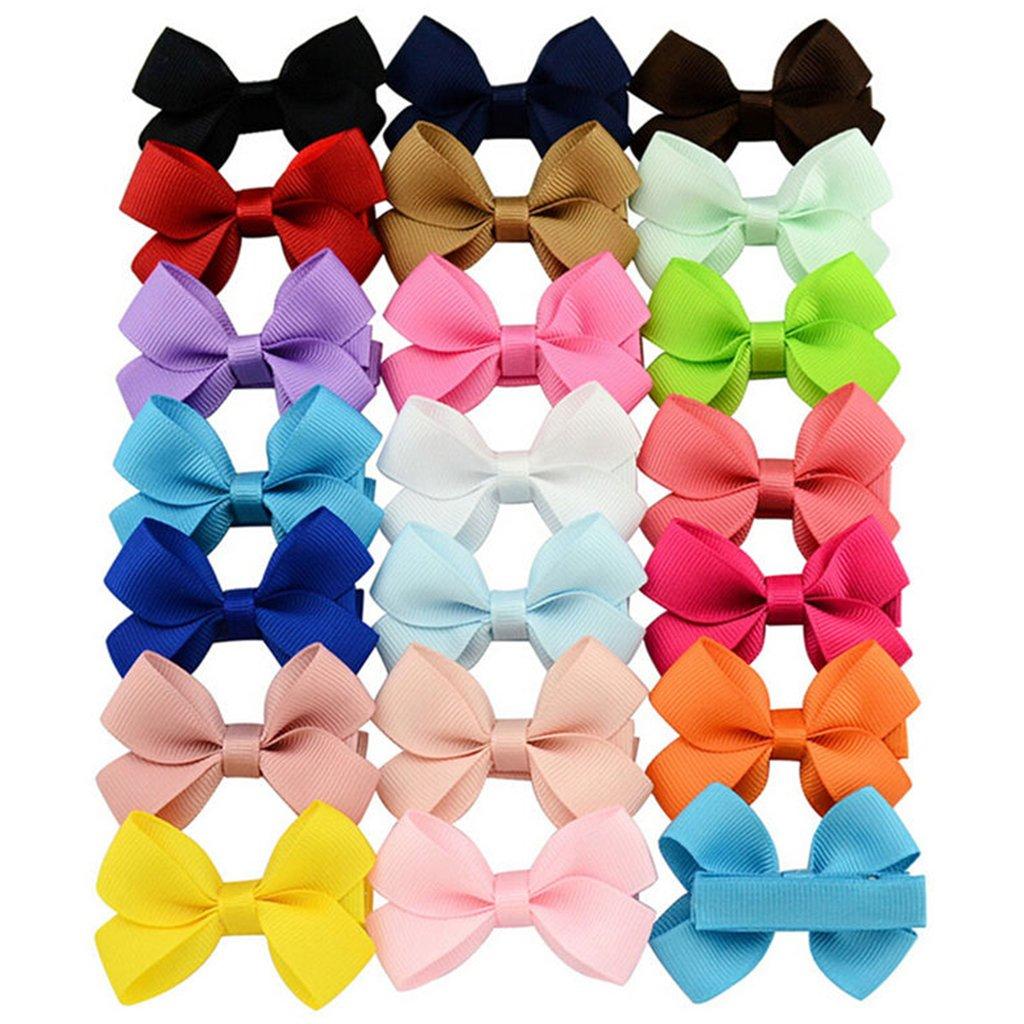 Jiamins 20pcs Cheveux Bow Boutique Pince crocodile ruban gros-grain avec nœud pour bébé fille enfants, couleur aléatoire