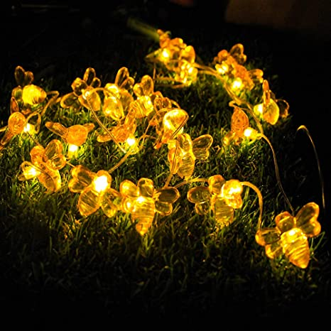HOT Solar Powered Honey Bee String Lights Starry 30LED Lights Garden Trees Lawn