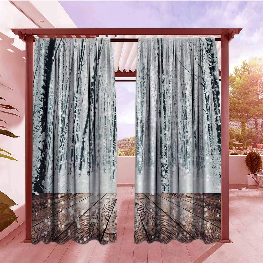 Indoor/Outdoor Top Curtain Winter Wonderland Decorations Black Forest Trees in White Snowflakes All Purpose Lined Rod Pocket Drapes W96x84L