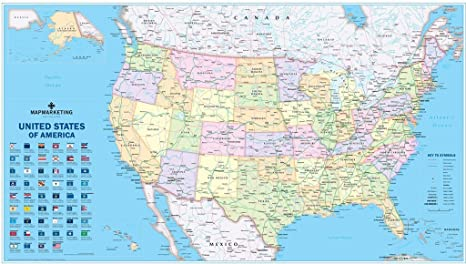 Amazon.com: USA Political Wall Map: Toys & Games on usa elevation map, usa diplomatic map, usa climate map, usa road map, usa education map, missouri bellwether, usa historic map, usa map labeled, swing state, usa map projection, usa city map, solid south, usa weather map, usa outline map, purple america, jesusland map, usa map with states, libertarian party, usa map with cities and towns, usa geological map, usa thematic map, republican and democratic states 2012 map, usa population density map, usa trade map, usa history map, usa topographical map,