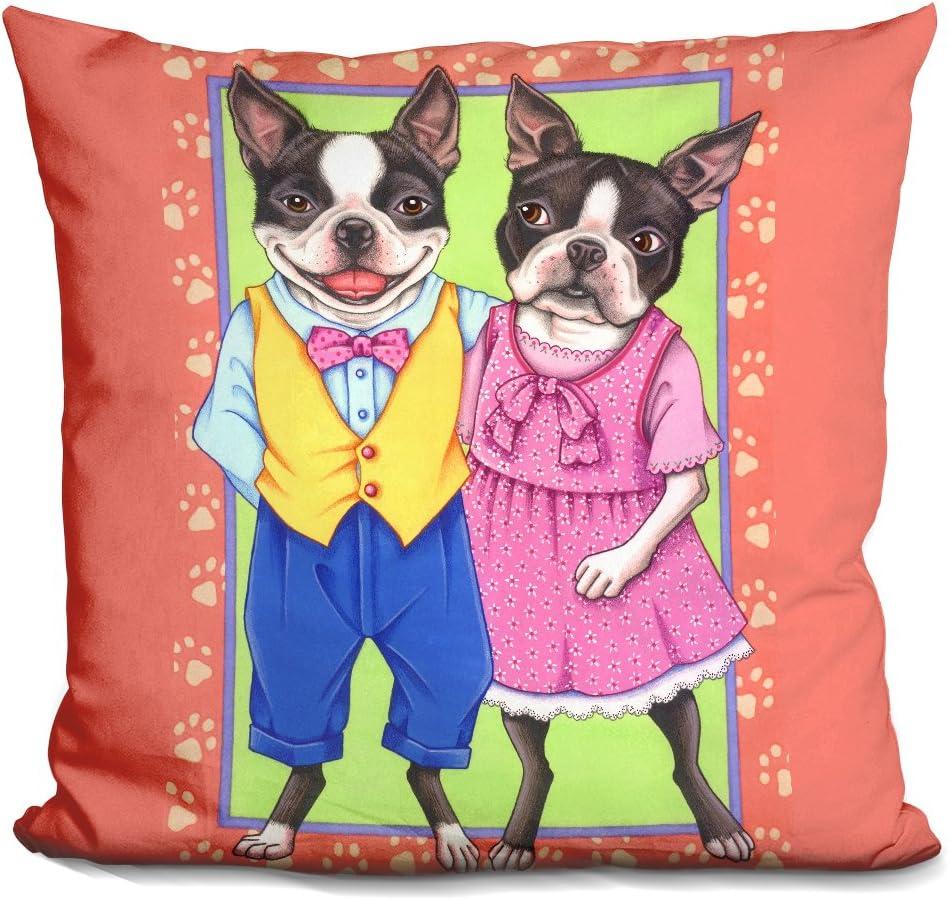 LiLiPi Boston Terrier Couple Decorative Accent Throw Pillow