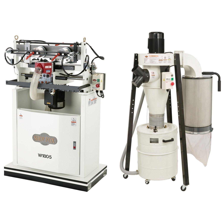 Shop Fox W1805 1 HP 16-1/2-inch Dovetail Machine, W1823 Cyclone Dust Collector