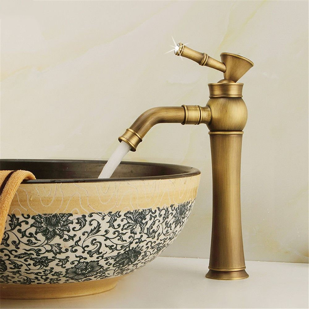 Lalaky Taps Faucet Kitchen Mixer Sink Waterfall Bathroom Mixer Basin Mixer Tap for Kitchen Bathroom and Washroom Copper Hot and Cold Antique