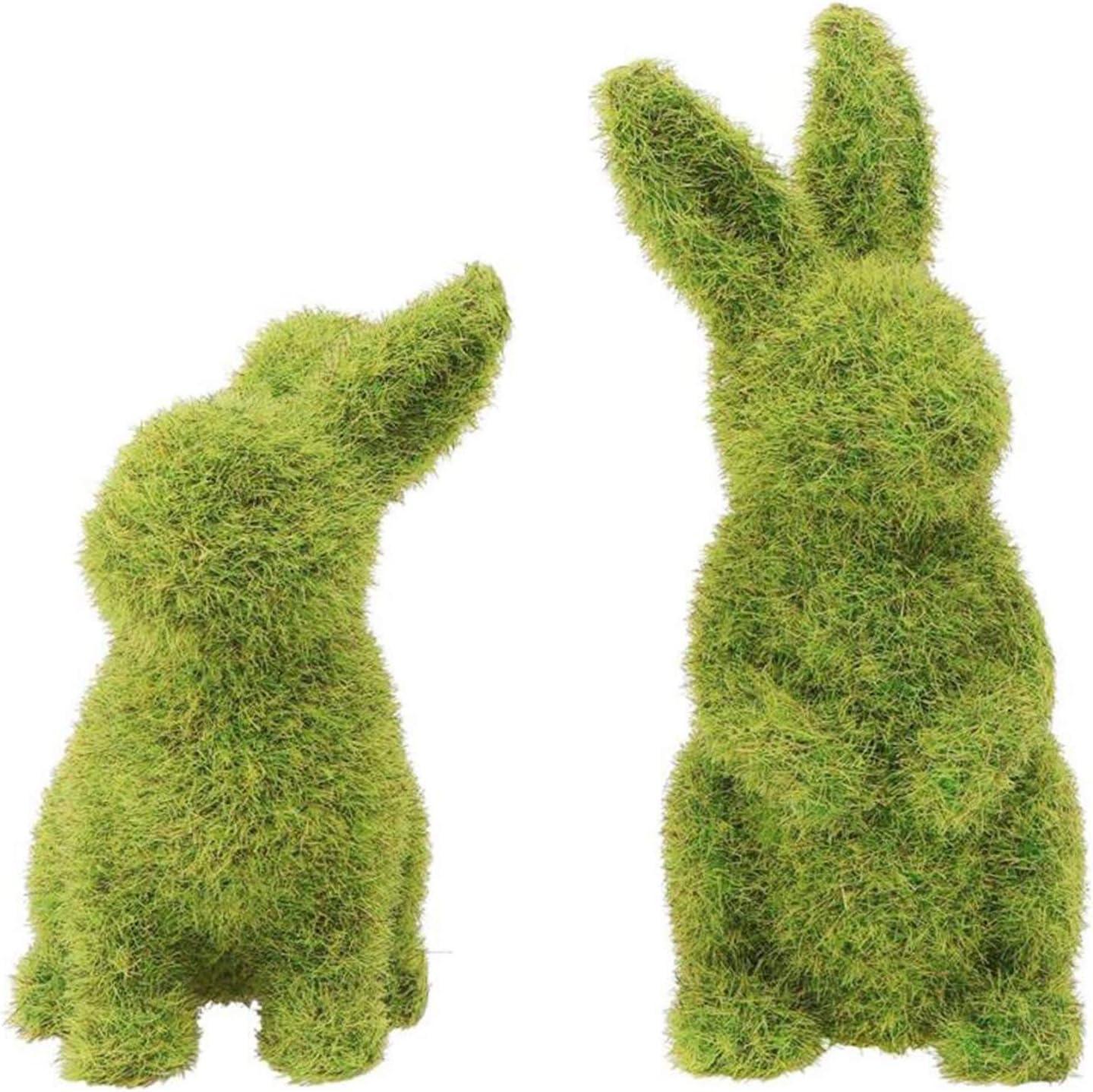 QWDLID 2 Pieces Easter Bunny Craft Set Green Resin Moss Crafts Garden Ornamental Rabbit Crafts Easter Decors for Potting, Hallway, Desktop,Yard