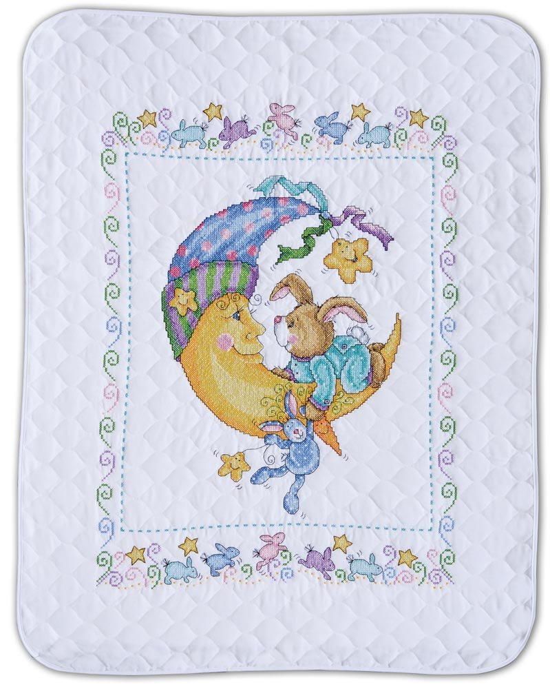 Design Works Crafts Tobin, 34'' x 43'' Stamped Baby Quilt, Bunny