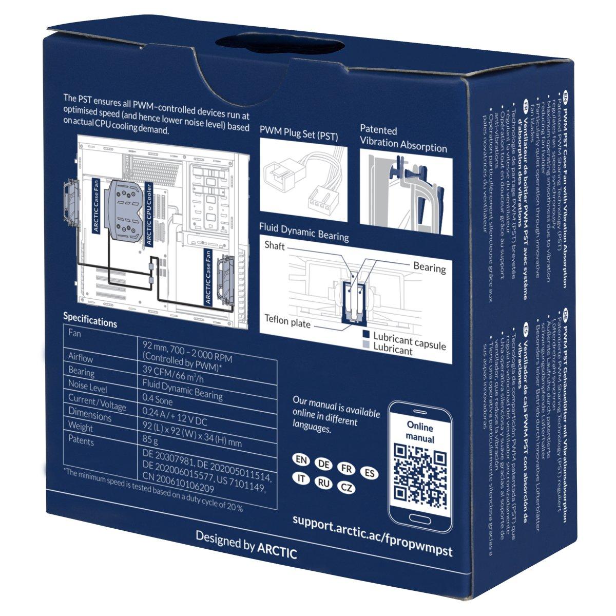 ARCTIC F9 PRO PWM PST - Absorbeur de vibrations brevet/é PST 92 mm Ventilateur boitier PWM haute performance avec Technologie de partage du PWM