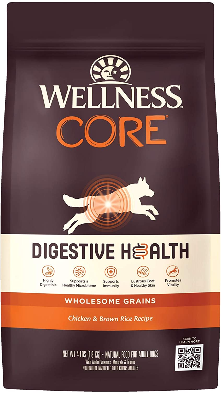 Wellness Natural Pet Food CORE Digestive Health Chicken & Brown Rice Dry Dog Food, 4-Pound Bag (89800)