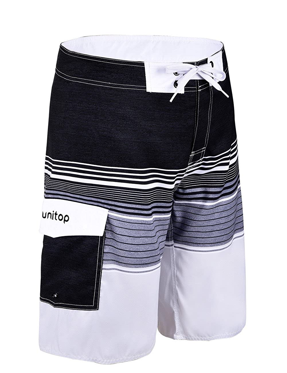 Unitop Mens Beachwear Striped Printed Fast Dry Surf Trunks with Side Pocket