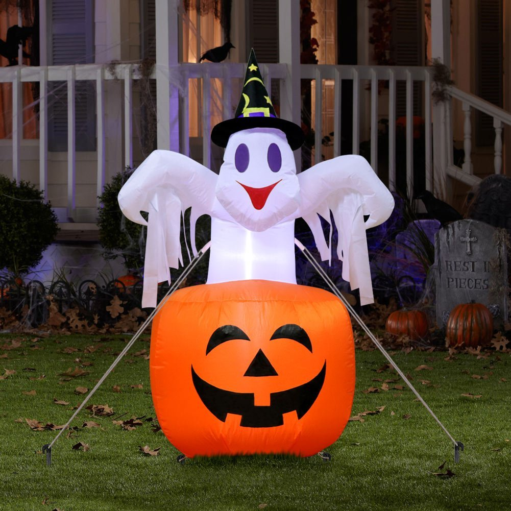 AerWo 4.7ft Halloween Inflatable Blow Up Ghost on Pumpkin, Upgraded Halloween Inflatable Pumpkin with Light for Halloween Outdoor Yard Decoration