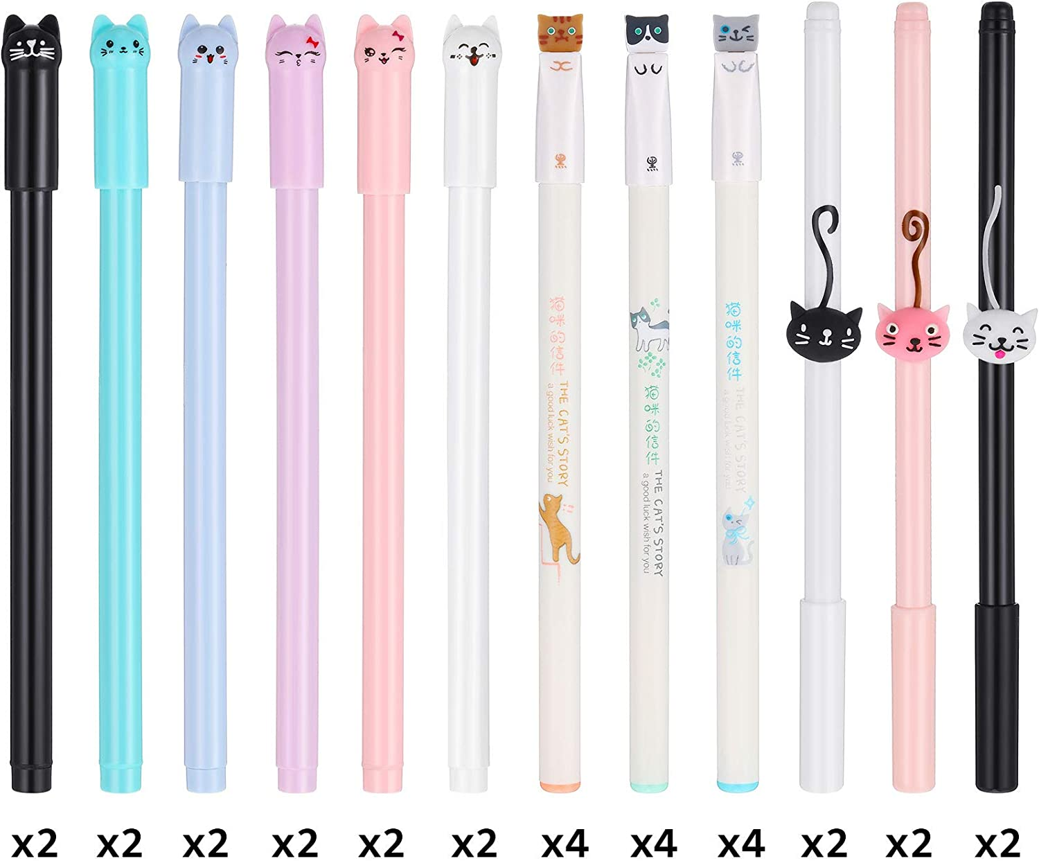 30 Pieces Cute Cat Pen Include 0.38 mm Gel Ink Pen and 0.5 mm Japanese Kawaii Pens Cat Black Ink Pens for School Office Supplies Women Girl Cat Lover Gifts (3 Styles)