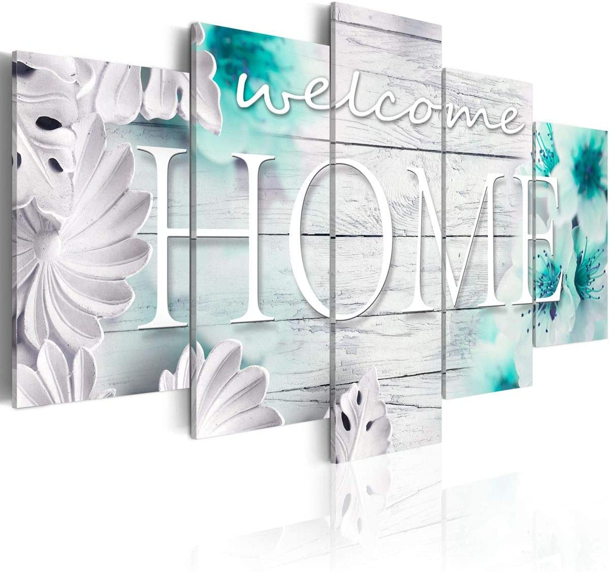 """Wall Art """"Welcome Home"""" Sign Turquoise Vintage Sweet Decor Modern Abstract 5 Panels Picture Canvas Floral Decoration for Housewarming Living Room 40"""" x 20"""""""