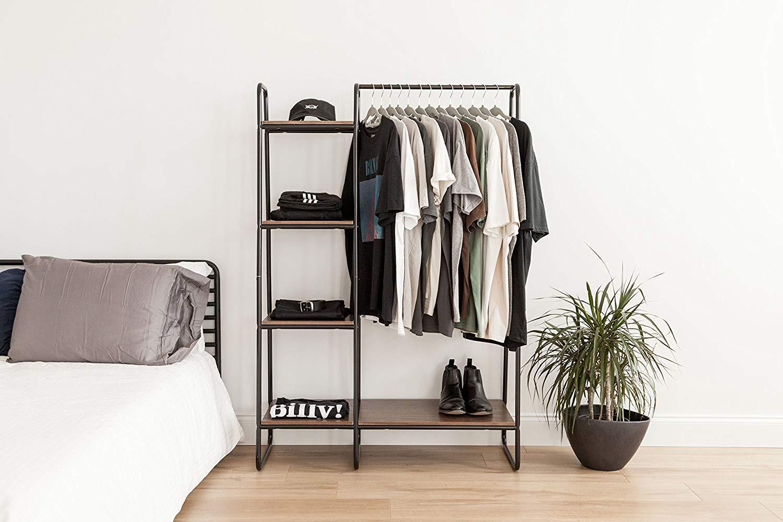 Medium lattice grid 64 x 49.5 x 150 cm Clothes MDF wood and metal garement accessories support Garment Rack PI-B5 M brown//black Iris Ohyama