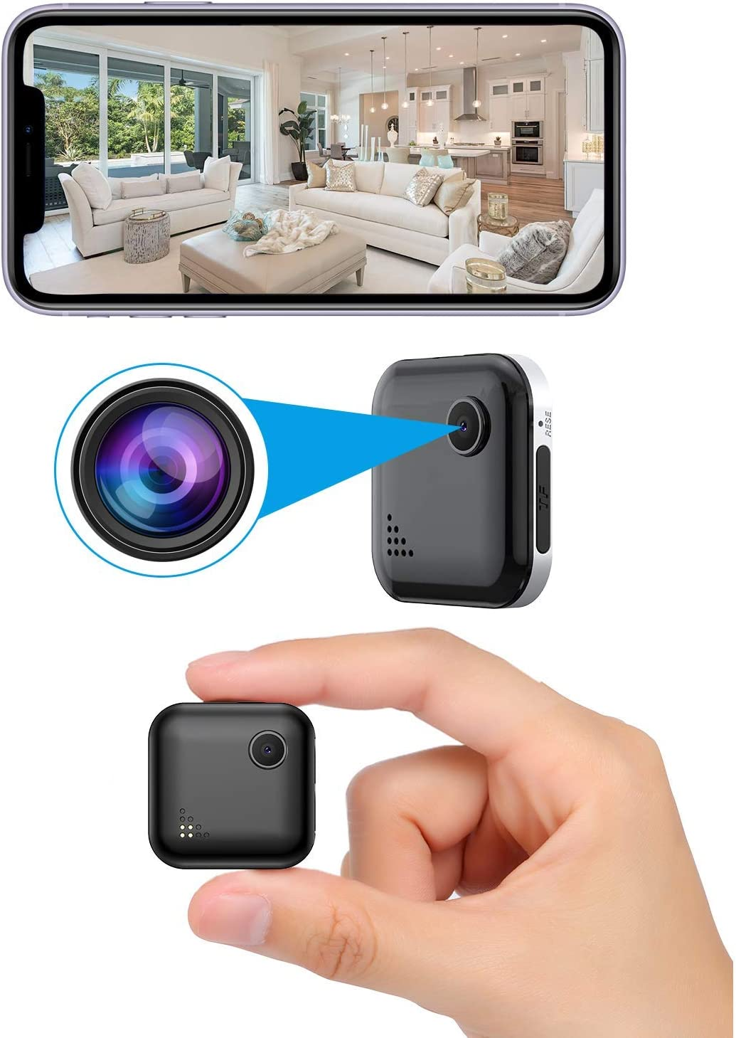 OUCAM Mini Spy Camera WiFi Wireless Hidden Camera with Audio Live Feed Home Security Camera Nanny Cam Wireless with Cell Phone App Night Vision Motion Detection