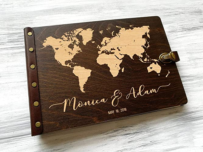 Amazon Com Personalized Wedding Guest Book World Map Guestbook