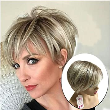 Amazon.com  Lady Miranda Brown Mixed Blonde Color Short Layer Nature Curly  with Bangs Synthetic Wig Heat Resistant Weave Full Wigs for Women (Brown- blonde)  ... 02b6234abebc