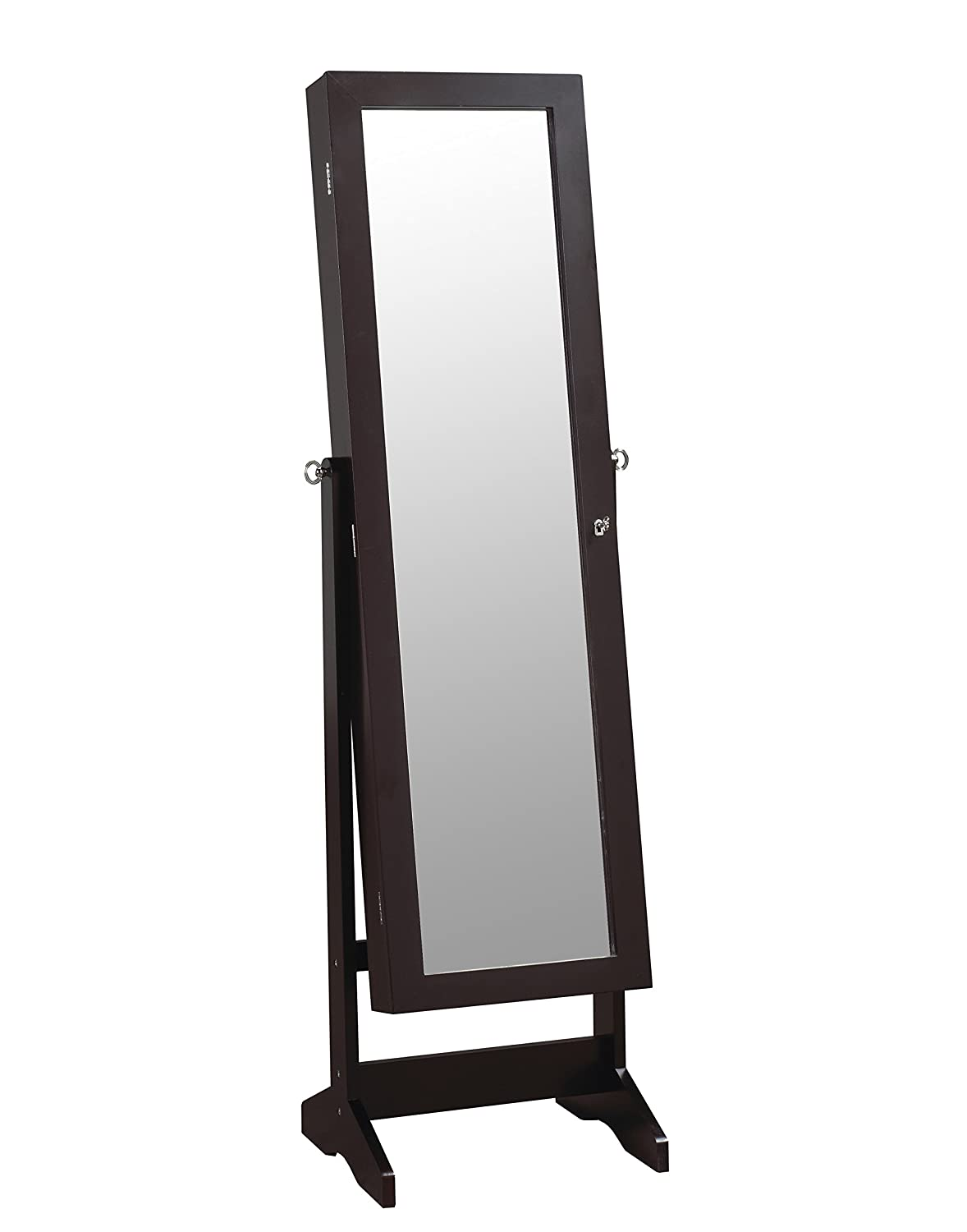 ViscoLogic Mirrored Jewelry Cabinet Armoire Stand, Mirror, Necklaces, Bracelets, Rings, Tie, Scarfs, Cuff links (Brown) WO-1161