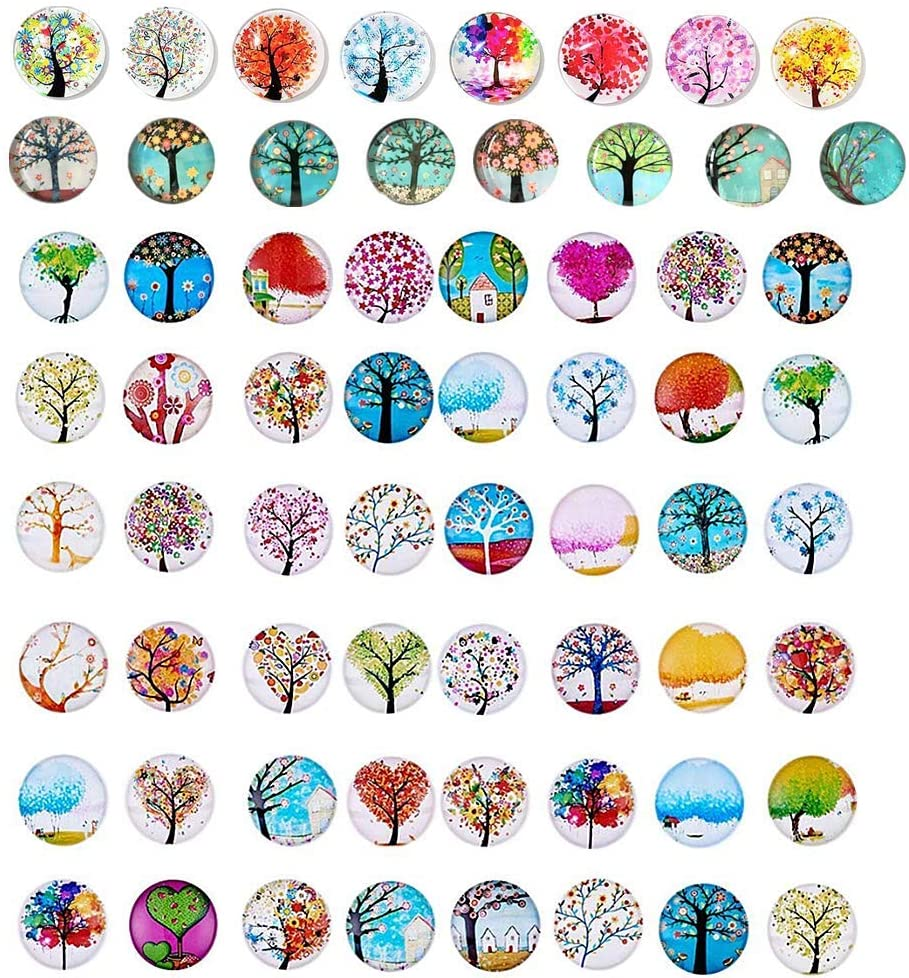 50 Beautiful Glass Refrigerator Magnets, Pretty Tree Fridge Magnets Small Magnets for Map Refrigerator Cabinet Whiteboard 0.7""