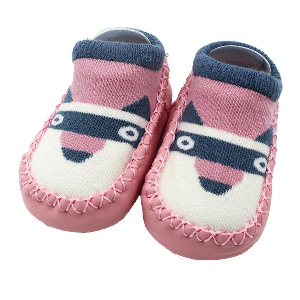0-3T Toddler Baby Girls Boy Slipper Socks Prewalkers with Soft Leather Sole