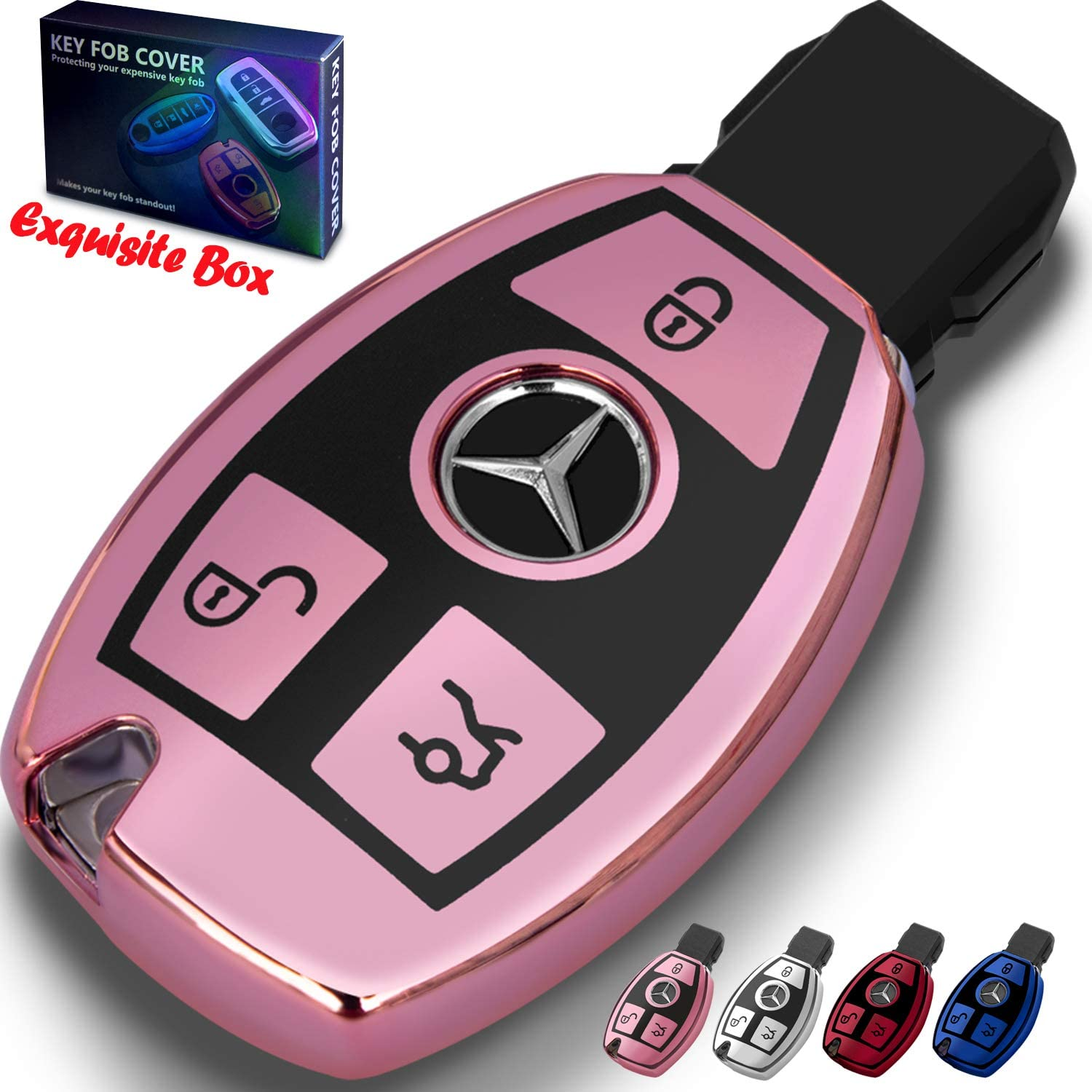 Premium Soft TPU Full Cover Protection for Mercedes Benz Smart Remote Key Fob Holder Key Fob Case for Mercedes Benz C E M S CLA CLS CLK GLC GLK G Class for Mercedes Benz Key Fob Cover Pink