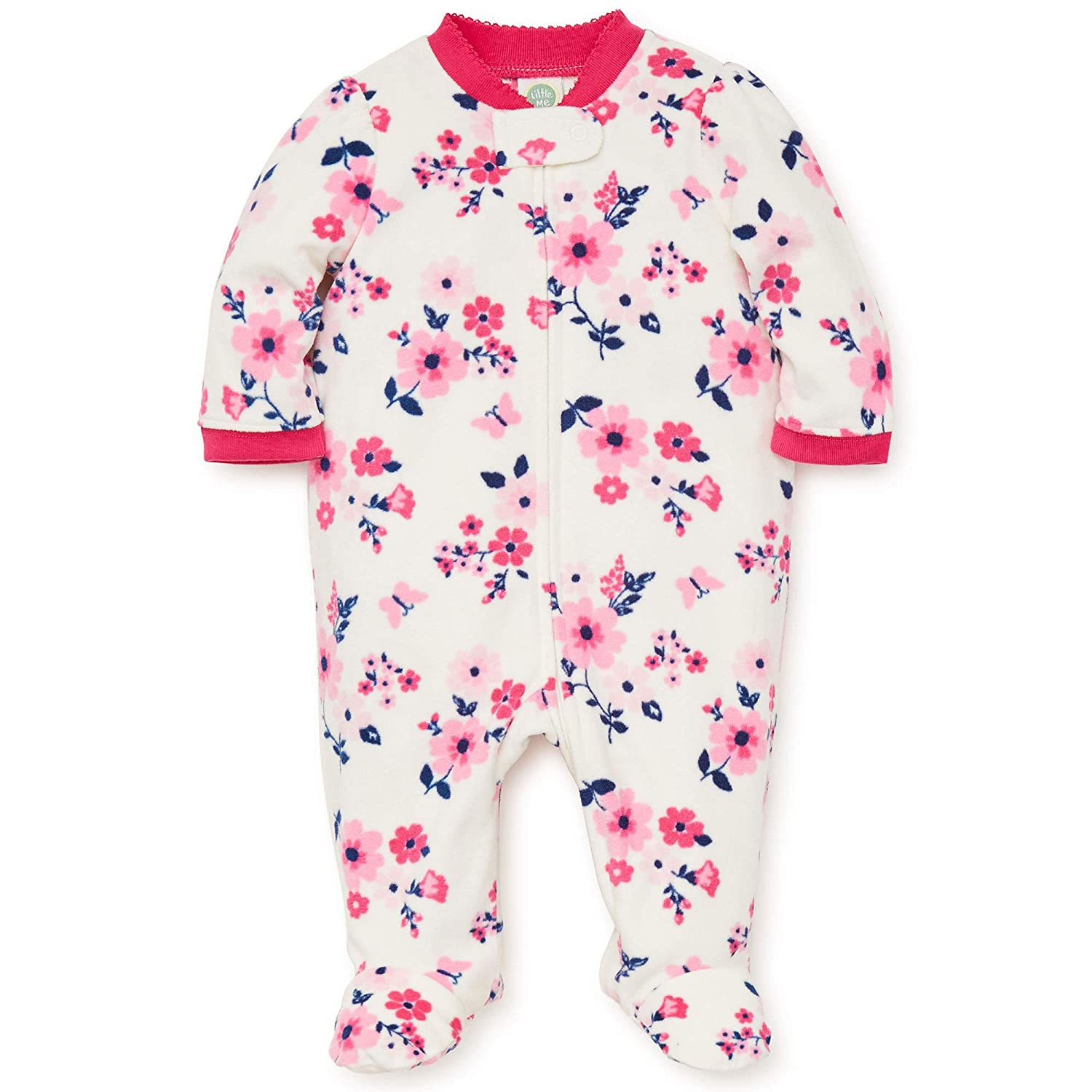 Amazon.com  Little Me Warm Footed Fleece Baby Pajamas Floral Blanket Sleeper  Footie Pink 9 Months  Baby 90dc05a01