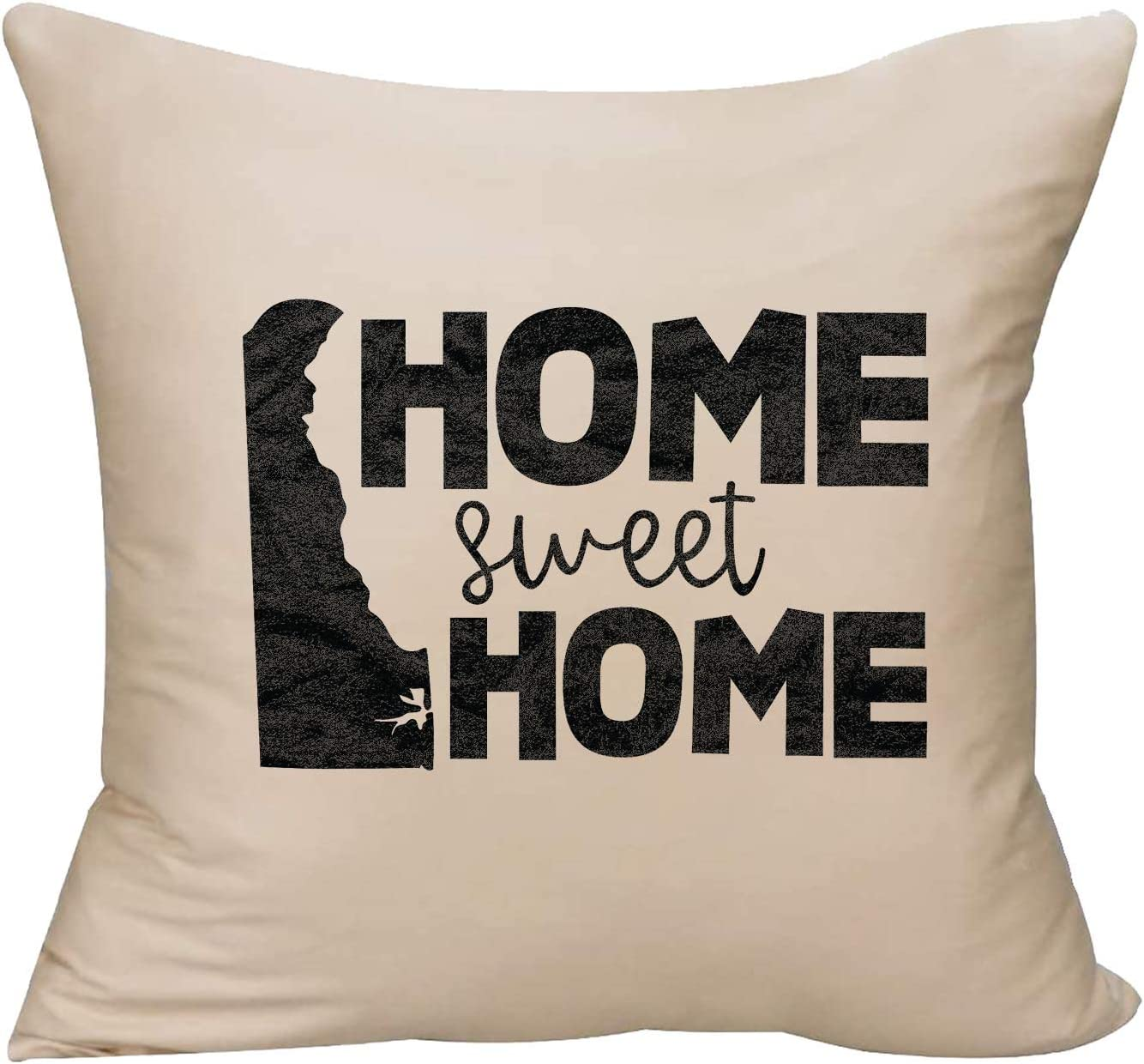 EVH Home Sweet Home Delaware Native State map Decorative Throw Pillow Cover 18 x 18 Beige Funny Gift