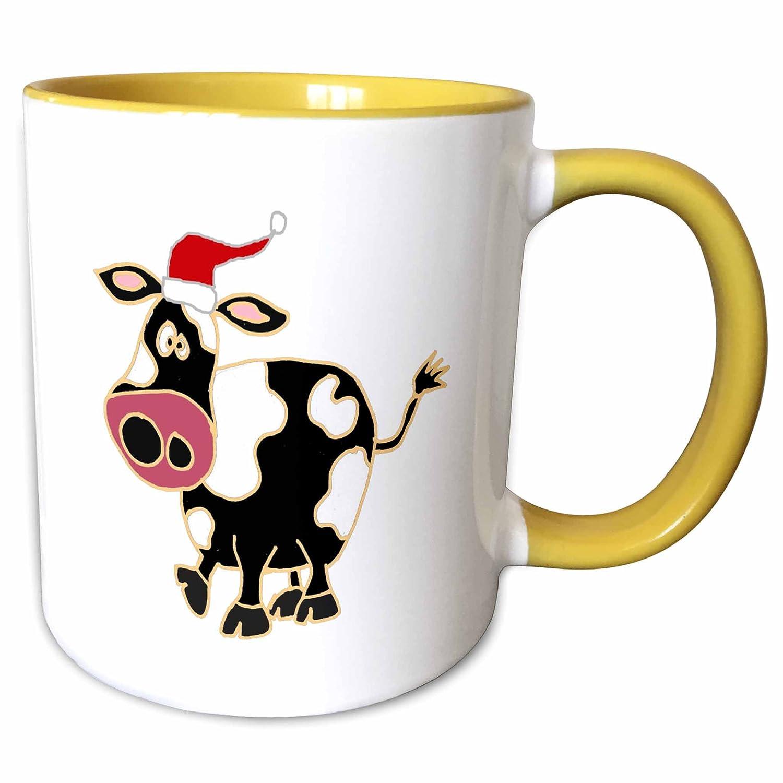 Yellow Mug 11 oz 3dRose 200188/_8 Funny Black and White Cow in Santa Claus Hat Christmas Art
