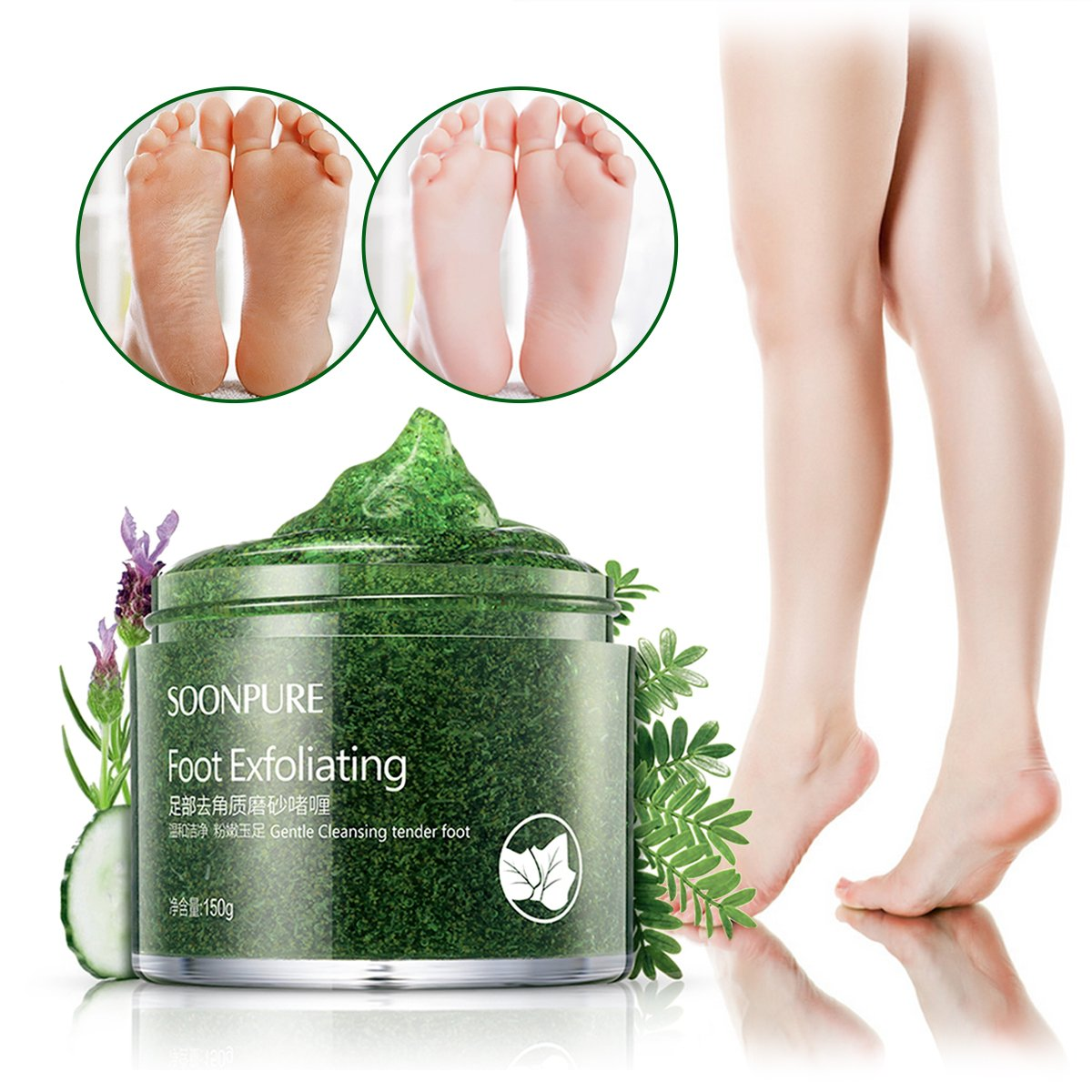 Foot Exfoliating Scrub Gel, Foot Whitening Skin Care, Foot Moisturizer, Foot Callus Remover- Softens for Thick Cracked Rough Dead Dry Heel Feet with Natural Phytoextraction Particles, 5.07 Fl.Oz NICOOL