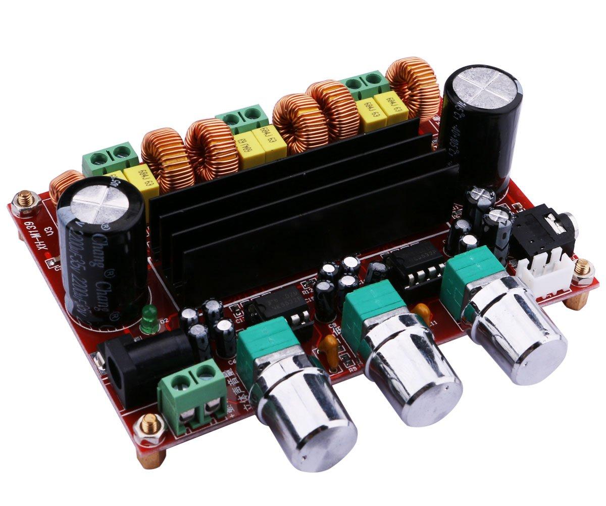 Carte d'amplificateur Audio, Yeeco 2.1 Canaux 2x50W + 100W Module d'amplificateur Puissance Numé rique,DC 12-24V Module Audio Sté ré o AMP de Voiture avec Bouton de Volume et entré e Audio de 3,5 MM 1600088EU