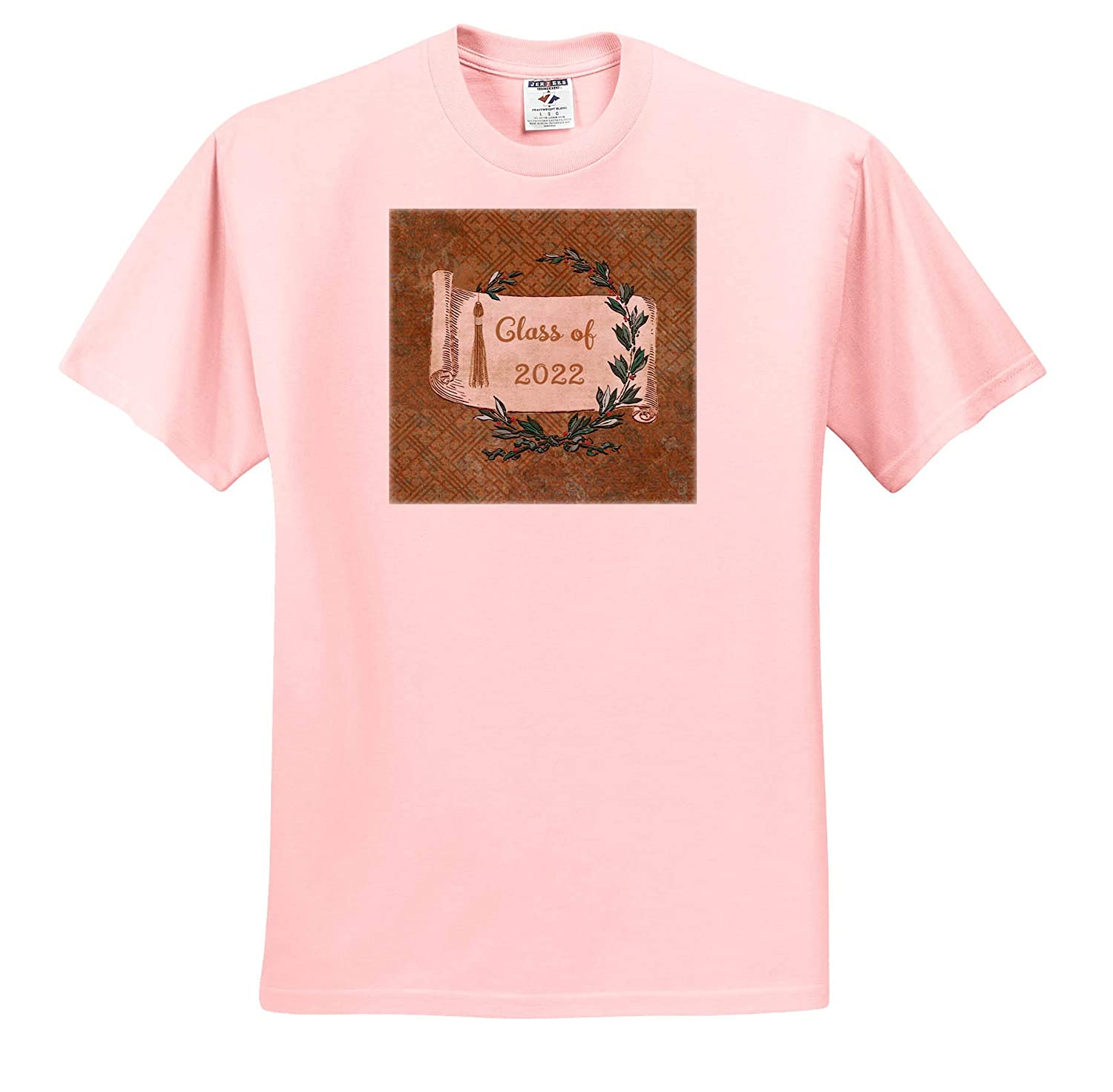Image of Class of 2022 3dRose Beverly Turner Graduation Design Tassel T-Shirts and Leaves Vintage Scroll