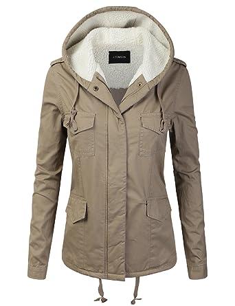 J.TOMSON Women s Woven Fur-Lined Hooded Cotton Utility Jacket Parka Khaki S 5353d6c29