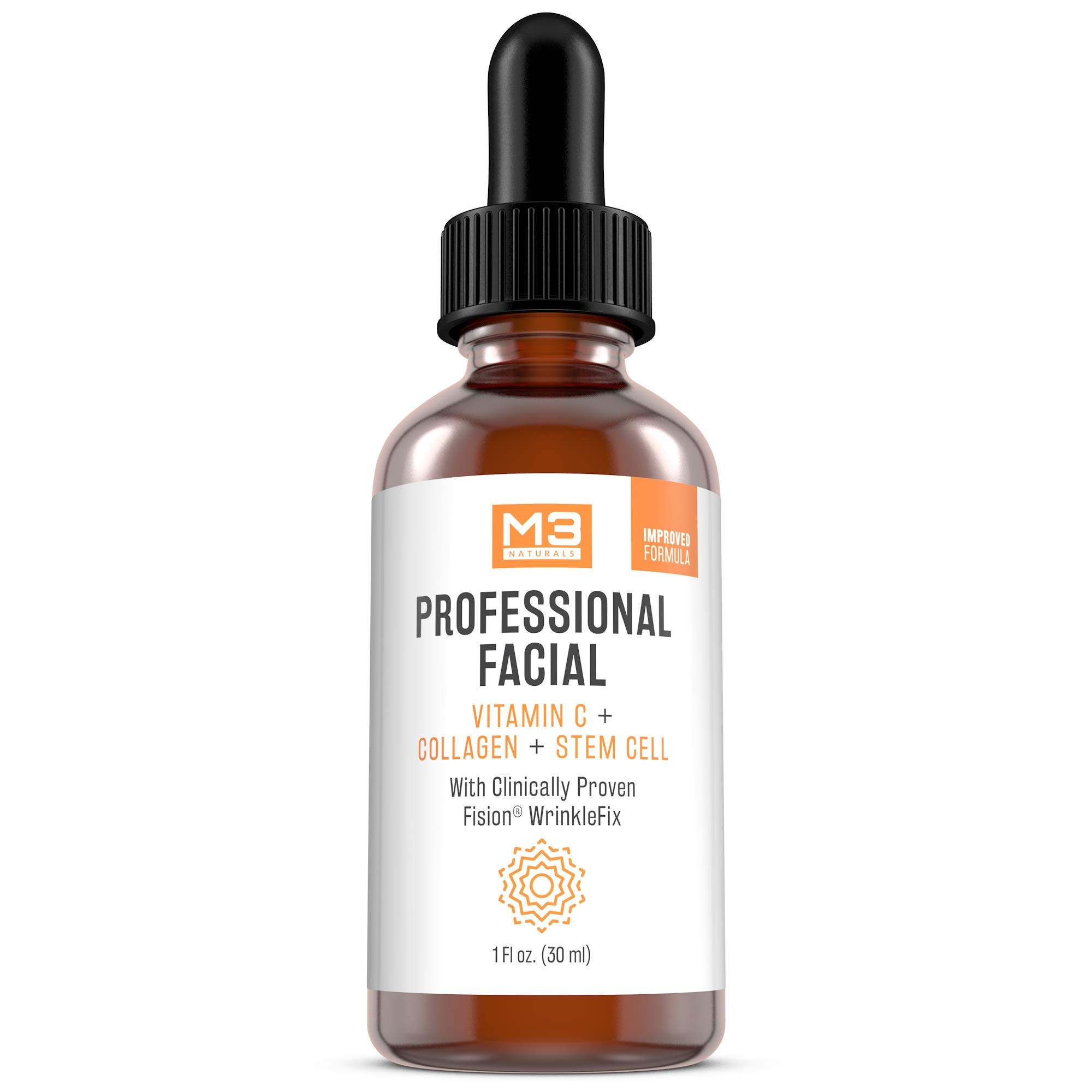 M3 Naturals Professional Facial Vitamin C Infused with Collagen Stem Cell and Patented Fision Wrinkle Fix Face Eye Oil Topical Facial Serum Natural Skin Care Acne Anti Aging Dark Spot Remover Cream by M3 Naturals