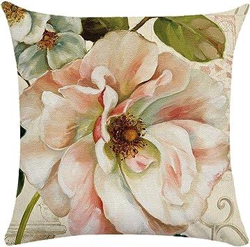 Image ofCaogsh - 2 fundas de almohada de felpa corta para cojín lumbar, sofá, almohada, almohada retro con diseño de pájaros y flores, algodón mixto, Zt002749, 50x50cm(Double-sided printing)
