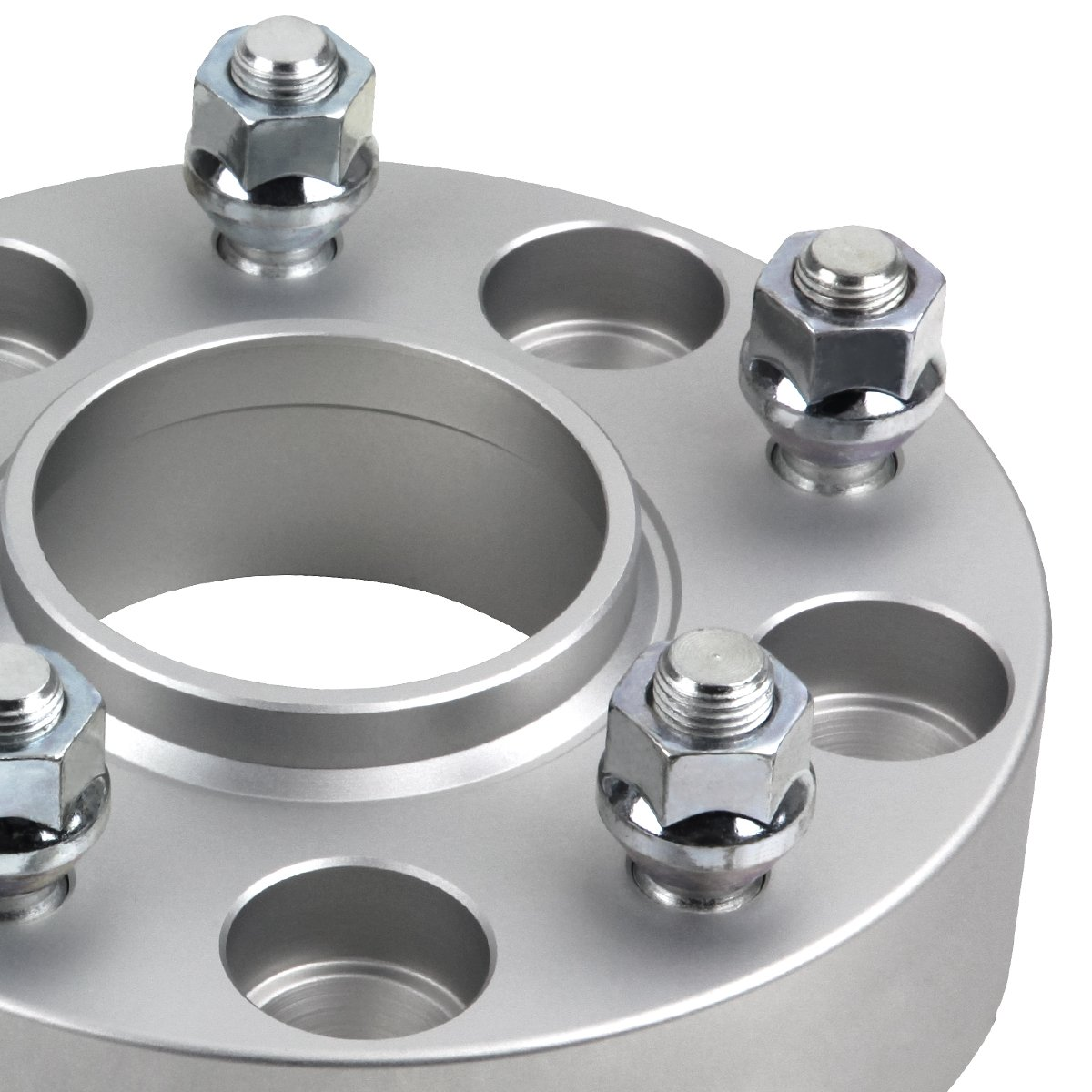 Supreme Suspensions - (4pc) 1997-2006 Jeep Wrangler TJ 2'' Hub Centric Wheel Spacers 5x4.5'' (5x114.3mm) with Lip + 1/2''x20 Studs [Silver] by Supreme Suspensions (Image #3)