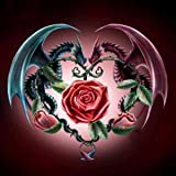 DIY 5D Diamond Painting by Number Kits, Crystal Rhinestone Diamond Embroidery Paintings Pictures Arts Craft for Home Wall Decor,Two Dragons and Rose