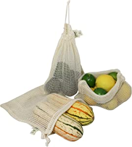 Simple Ecology Reusable Produce Shopping and Storage Bags, Drawstring, Washable Organic Cotton Mesh, Medium 3 pack