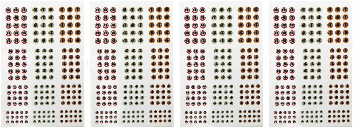 696 PCS 3D Fishing Eyes Oval Pupil Fishing Lure Eye for Making Fishing Bait and Fly Tying,4 Sizes,