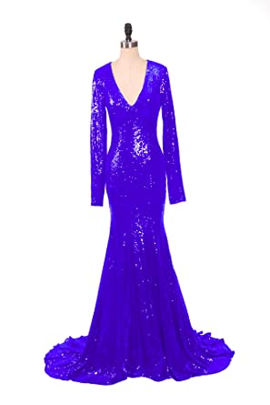 YSMei Womens Deep V Neck Long Mermaid Evening Prom Dresses With Sleeve Prom Formal Gown Royal