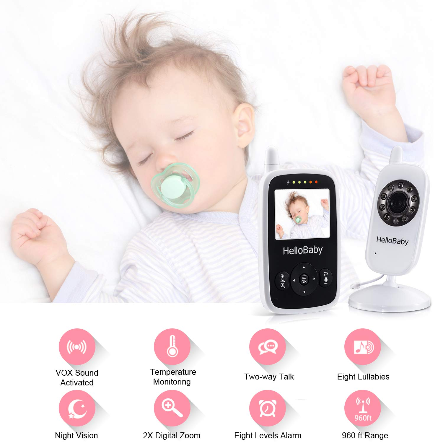 HelloBaby 2.4inch Digital Color LCD Screen Baby Monitor with up to 900 ft of Range, Infrared Night Vision, VOX, Two Way Audio and Alarm System Setting