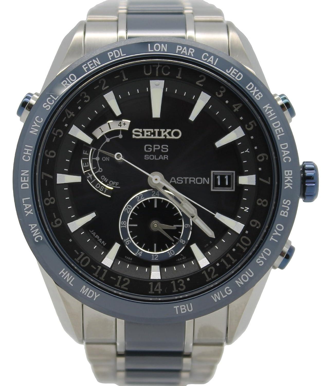 Seiko Men's Astron GPS Solar Date Calendar Titanium Watch SAST019