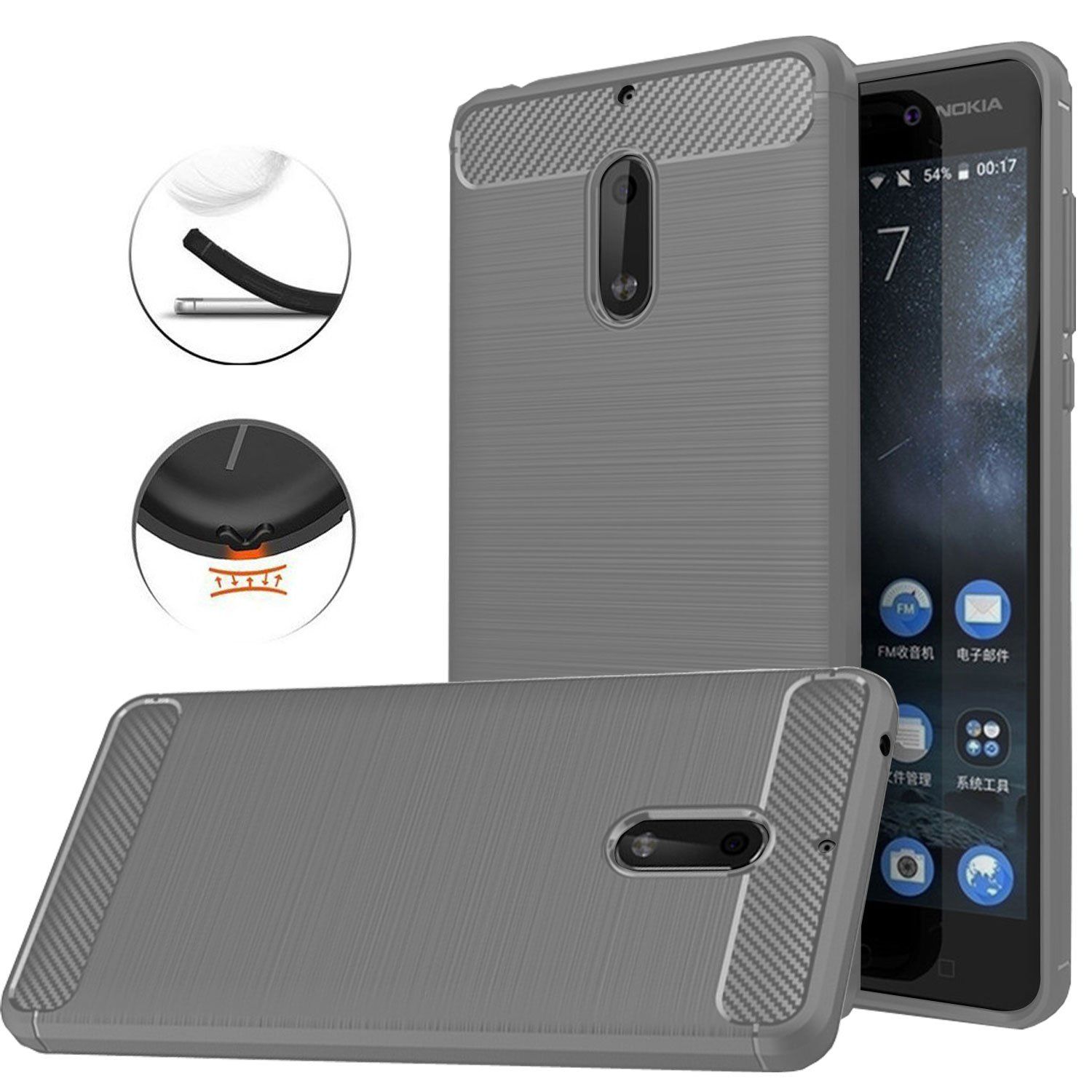 brand new 6c17b a3a5d Nokia 6 Case, Dretal [Shock Resistant] Flexible Soft TPU Brushed  Anti-fingerprint Full-body Protective Case Cover For Nokia 6 (5.5