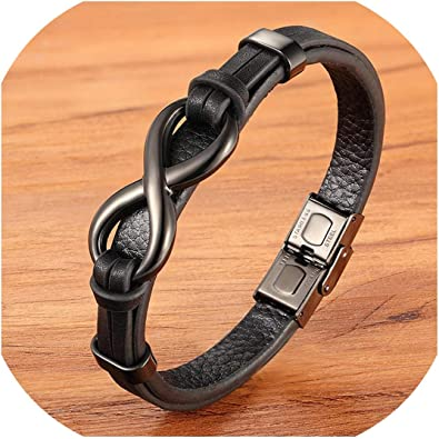 Men/'s Double Layer Black Leather Braided Charm Infinity Stainless Steel Bracelet