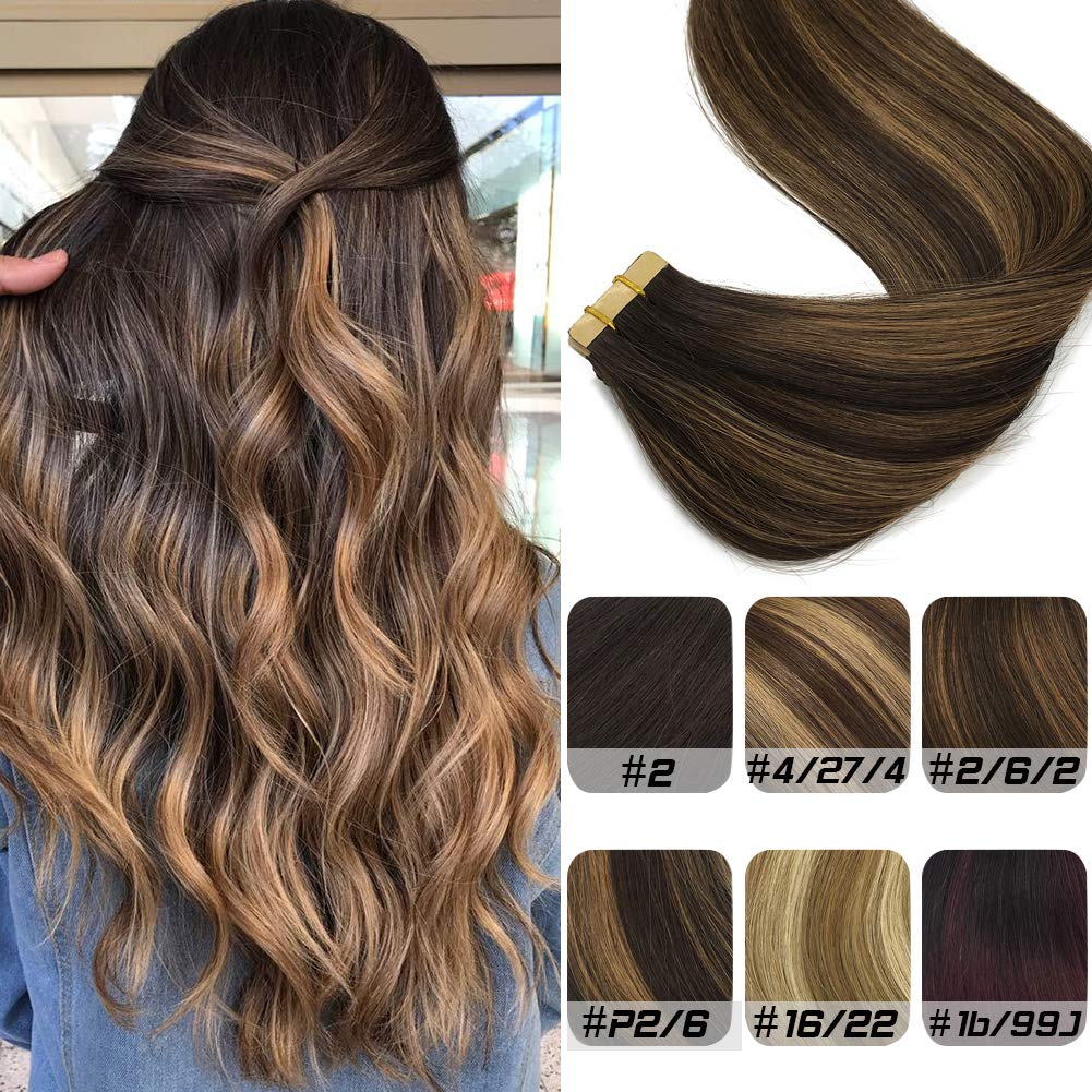 Labeh Tape in Hair Extensions Real Human Hair #2 Dark Brown Highlighted #6 Light Brown Hair Extensions Seamless Balayage Hair Extensions 20inch 20pcs 50g by LAB·EH