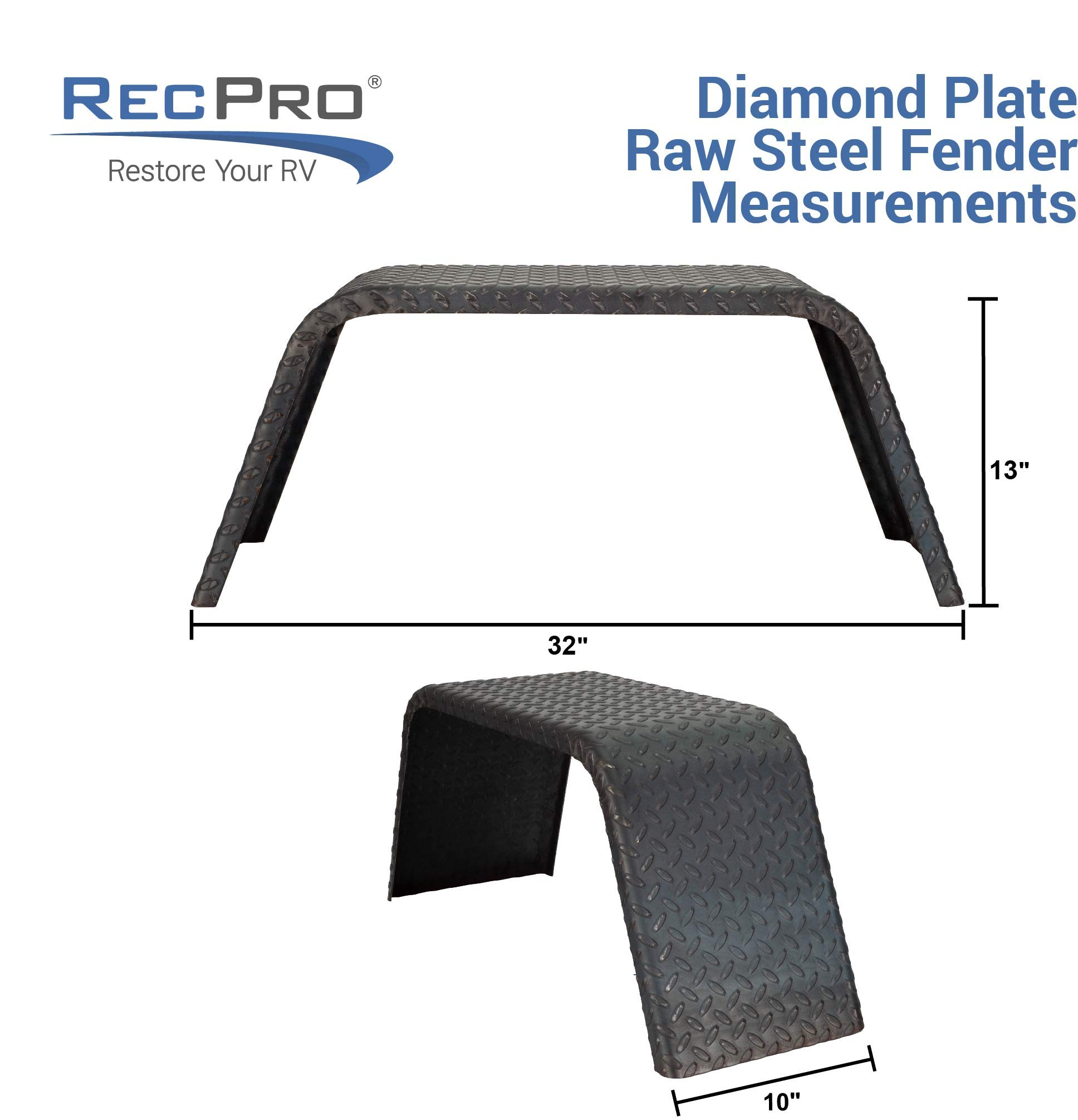 RecPro Steel 14 Gauge Diamond Tread | 32'' x 10'' x 13'' | Axle Trailer Fender | Trailer Fenders (1 Fender) by RecPro
