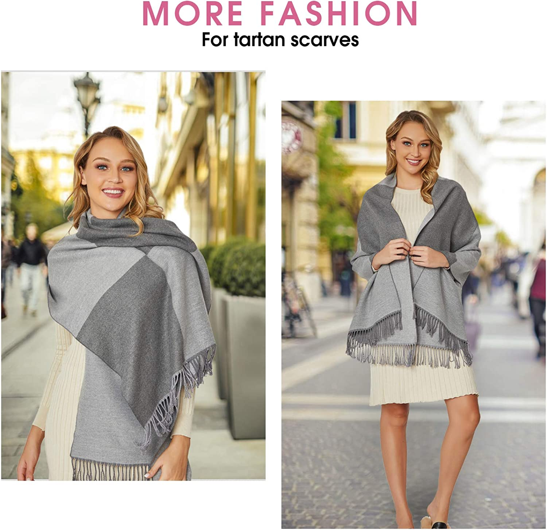 Warmer Wowen Pashmina Shawl /& Soft Cashmere Feel Shawl Wraps,Larger Double color Matching Plaid /& Tartan Scarf