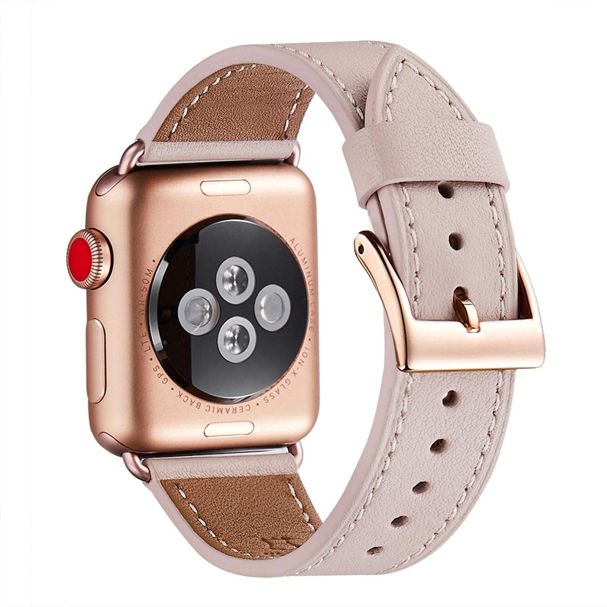 WFEAGL Compatible with i-Watch Band 38mm 40mm, Top Grain Leather Band Replacement Strap with for i-WatchSeries 4/3/2/1,Sport, Edition (Pink Sand Band+Gold Square Buckle) product image