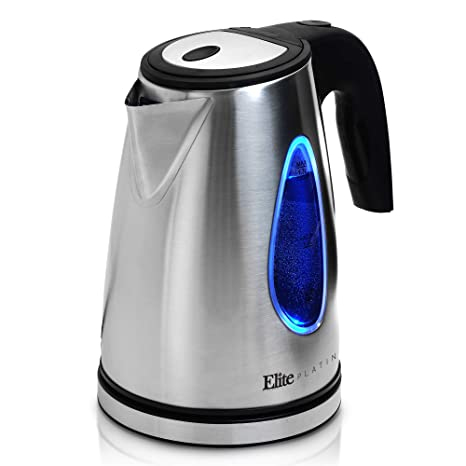 Elite Platinum EKT-1271 Electric Tea Kettle Hot Water Heater Boiler BPA  Free with LED Indicator, Fast Boil and Auto Shut-Off, 1 7L, Stainless Steel