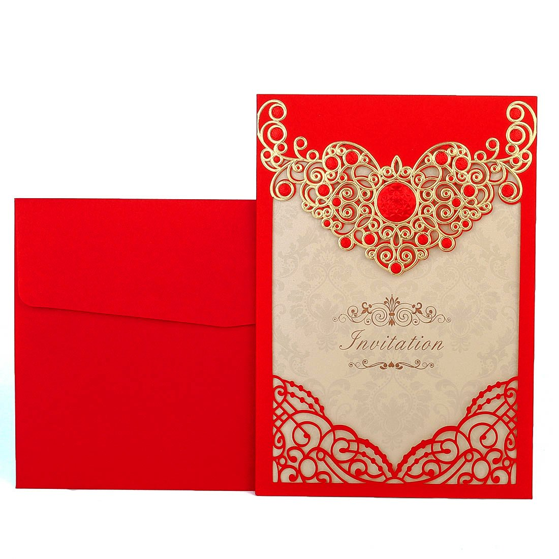 Amazon.com: YUFENG Wedding Invitations Cards Kits 50PCS Red Laser ...