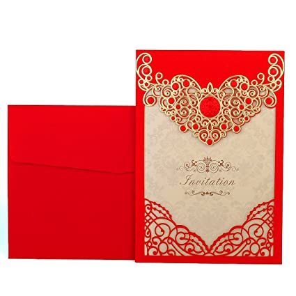 YUFENG Wedding Invitations Cards Kits 50PCS Red Laser Cut Vertical Party Invites Pocket for Engagement Marriage